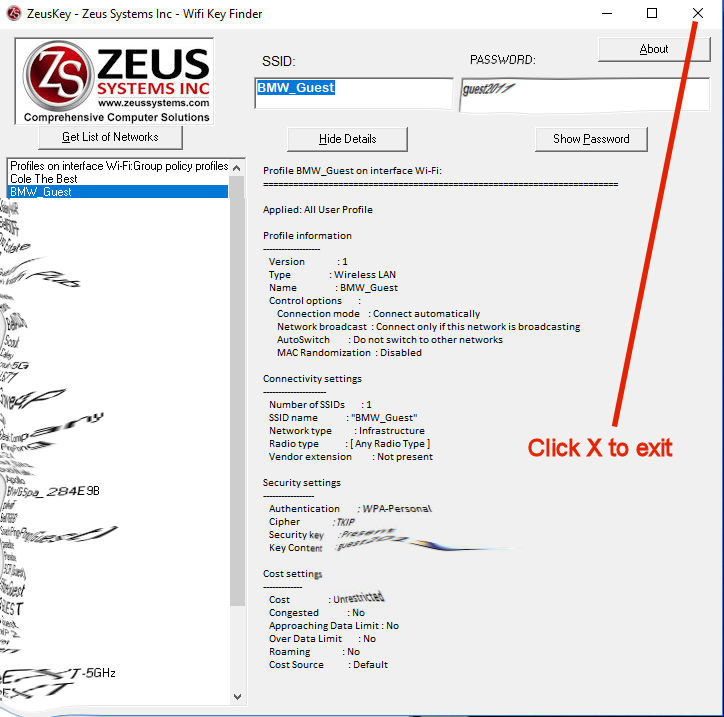 Recover WIFI password - ZeusKey Wifi Pass Recovery How to Use Step 3