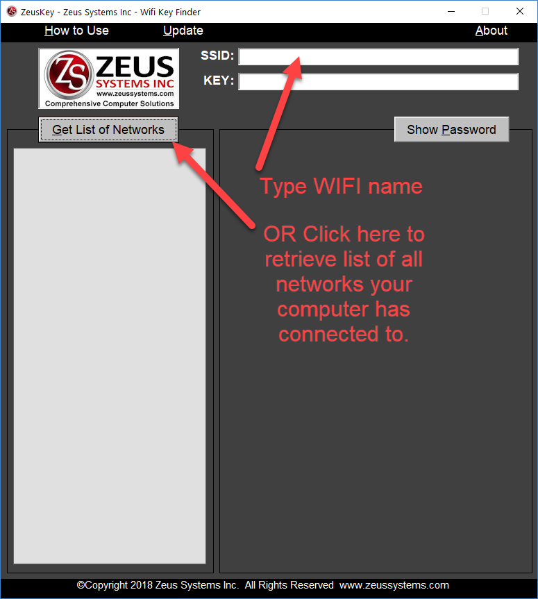 Recover WIFI password- ZeusKey Wifi Pass Recovery How to Use Step 1