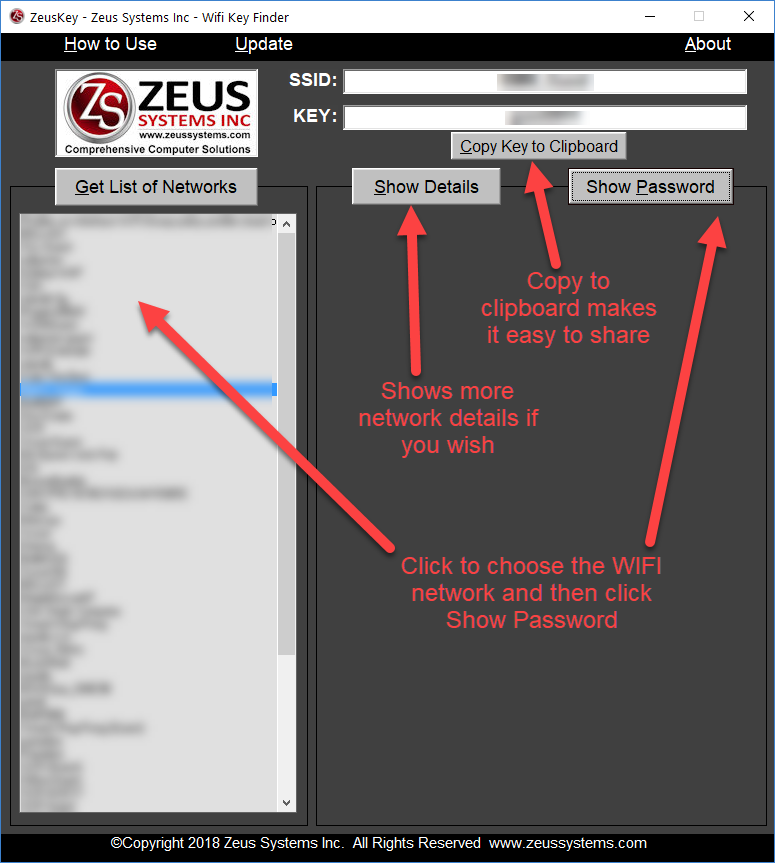 Recover WIFI password - ZeusKey Wifi Pass Recovery How to Use Step 2