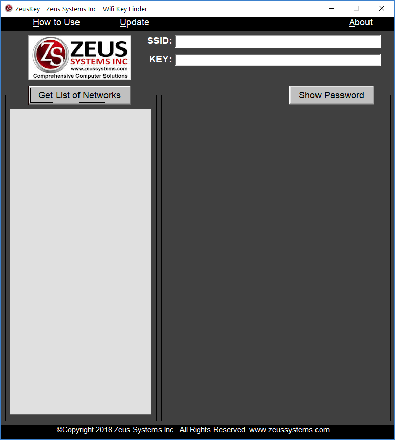 Recover WIFI password - ZeusKey Wifi Pass Recovery Screen Capture